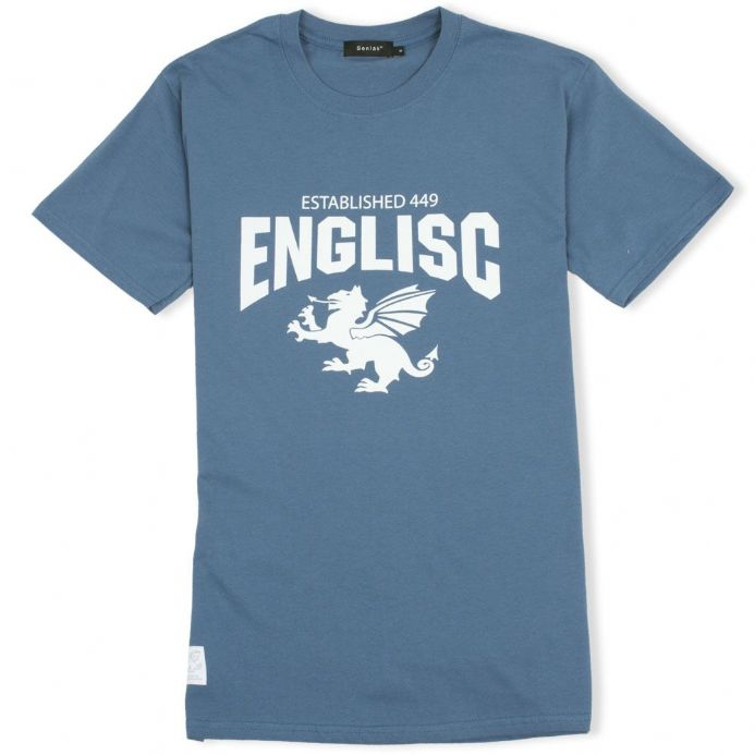 Englisc 449 indigo Anglo-Saxon t-shirt with Senlak White Dragon woven patch